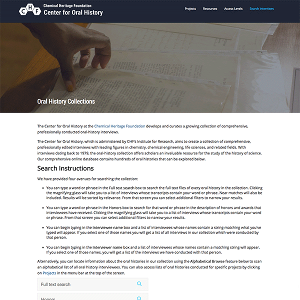 Web Design and Drupal architecture and implementation for the Chemical Heritage Foundation